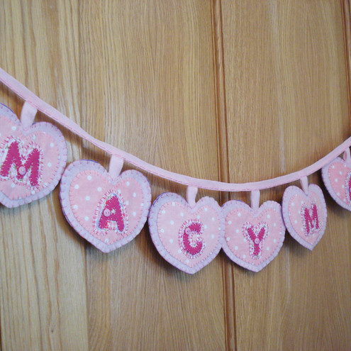 Bunting Personalised girls Handmade Felt and Fabric pink