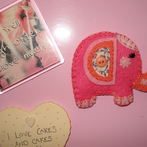 Handmade Felt and Fabric Pink Elephant magnet