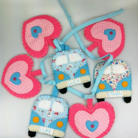 Bunting felt vw campervan and heart personalised
