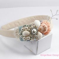 Folksywedding Handmade Flowergirl bridesmaid Headband seaside beach