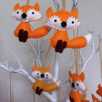 Felt Fox christmas decoration fairytale woodland autumn