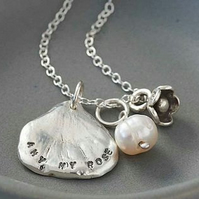 Personalised Silver Petal Necklace - Large Petal