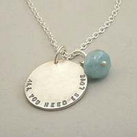 Single Disc Personalised Silver and Amazonite Necklace