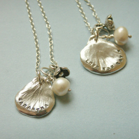 Small Personalised Silver Petal Necklace