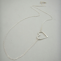 Silver Side Heart Necklace