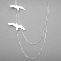 Silver Double Bird Necklace