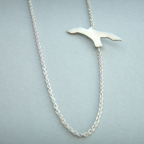 Silver Bird Side Necklace