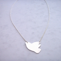 Large Silver Dove Necklace