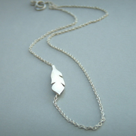 Silver Feather Side Necklace