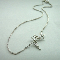 Silver Falling Twig Necklace