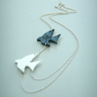Black and White Acrylic and Silver Swallow Bird Necklace