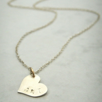 Silver Personalised Heart Necklace with 14kt Gold