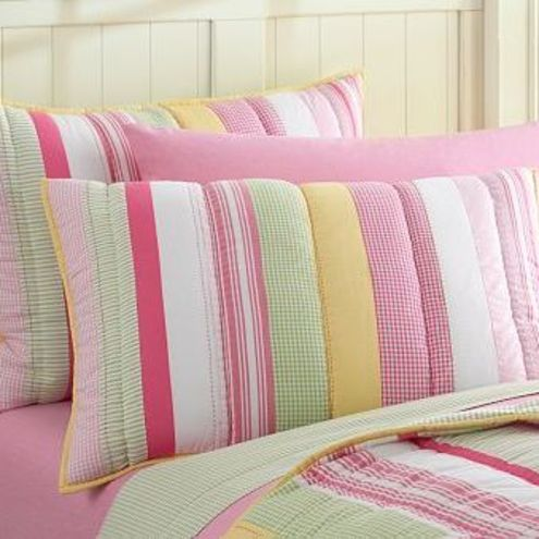 Childrens Pink Stripe Quilted Bed Throw and Pillow Sham