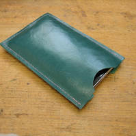 Teal leather phone cover