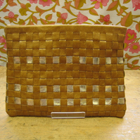 Tan leather and gold woven clutch with detachable handle