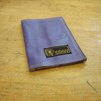 Purple leather passport cover with budgies