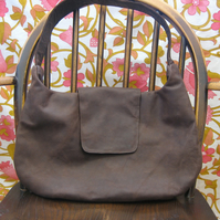 SALE Big brown shoulder bag with retro floral lining. Was £97, now