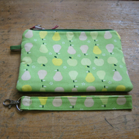 Apples and pears clutch with 1970s green crimplene lining
