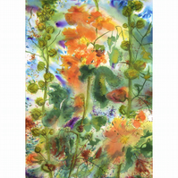 "After The Rain Watercolour and Line Floral Painting Hollyhocks 28.75"" x 20.75"""