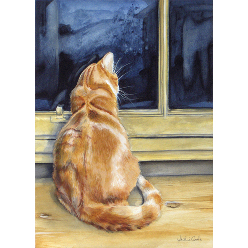 Ginger Cat Watercolour Signed  A4 Print (11.75 x 8.25 inches) 'Winter Evening""