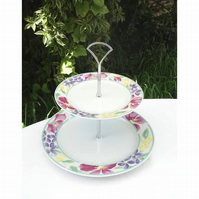 Cake Stand - 2 Tier Floral China