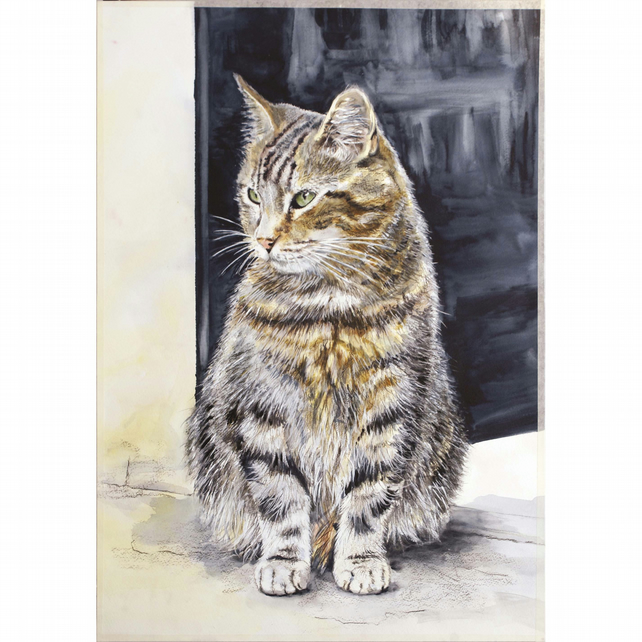 'Back Step' Tabby Cat Signed Print (11.75 x 8.25 inches) from Original Painting