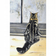 Tabby Cat Large (A3) Signed Print 'Winter Morning' from My Original Painting