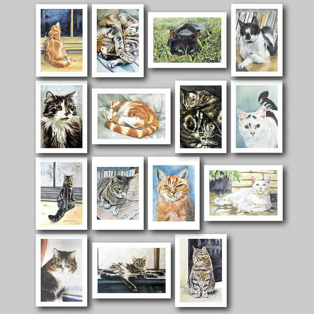 Cats Greetings Cards - A Complete Set of 15 from my Original Watercolours