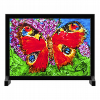 Freestanding Glass Panel Peacock Butterfly