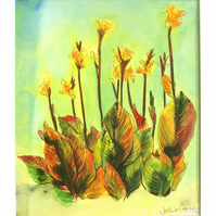 Canna Lilies Original Floral Painting Acrylic 10 x 8.5 inches