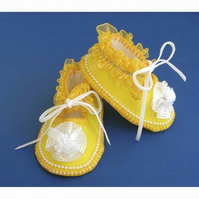 Baby Shoes Sunshine Yellow with Organza Frills & Beads - Newborn to 3 months