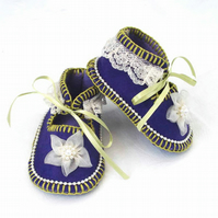 Baby Shoes Hand Stitched Purple with Flowers and Beads. Extra Small 0-3 months