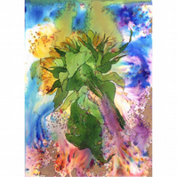 Original Painting Sunflower Floral Watercolour 15x11 inches