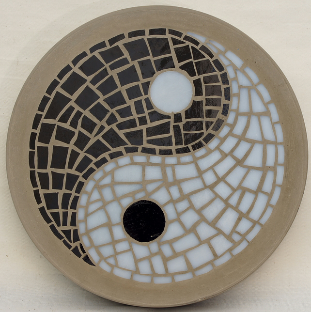 MADE TO ORDER Yin Yang garden feature 300mm Gla Folksy