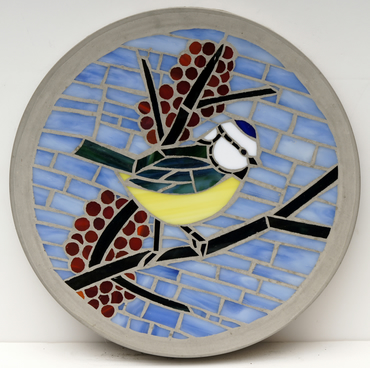 MADE TO ORDER - Blue Tit 300mm Glass Mosaic Concrete Stepping Stone