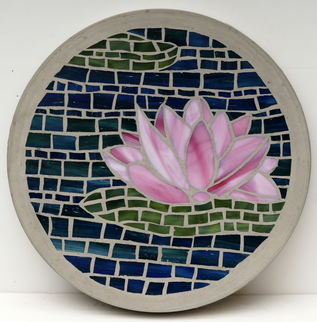 Mosaic Stone Cement : Made to order pink lotus flower mm glass folksy