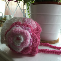 Baby Bonnet Sparkly Crocheted Pretty Pinks with Flower 0 to 3 size.