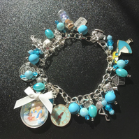 Alice in wonderland blue dangle charm bracelet