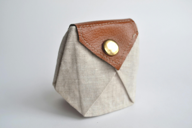 Leather Linen Origami Coin Purse Folksy