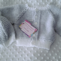 Smart Hand Knitted baby cardigan and hat 0-6 months