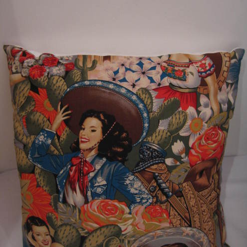 Retro 'Las Senoritas' cushion