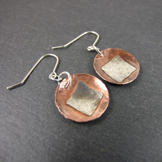 Earrings, Artisan Copper & Sterling Silver Geometric Circles