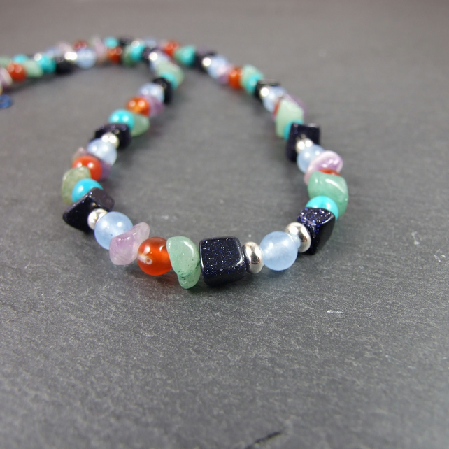Dusky Rainbow Gemstone Necklace with Sterling Silver