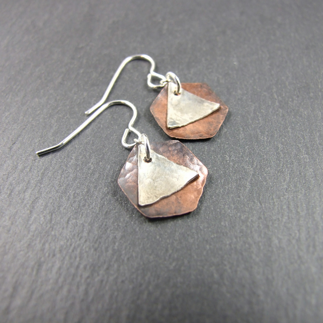 Earrings, Artisan Geometric Hexagon Copper & Sterling Silver