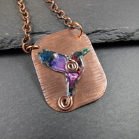 Humming Bird Necklace, Copper and Aluminium Bird with Ink & Resin