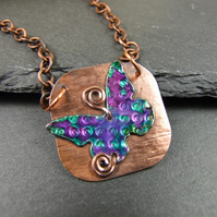 Butterfly Necklace, Copper and Aluminium Butterfly with Ink & Resin