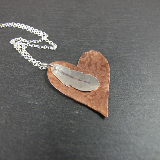 Heart and Feather Pendant Necklace, Copper and Sterling Silver, Remember me