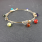 Sterling Silver and 14ct Gold Fill Wire Wrap Bangle with a Rainbow of Gemstones