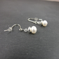 White Button Pearl with Swarovski® Elements Crystal and Sterling Silver Earrings