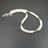White Button Pearls with Swarovski® Elements Crystal & Sterling Silver Necklace